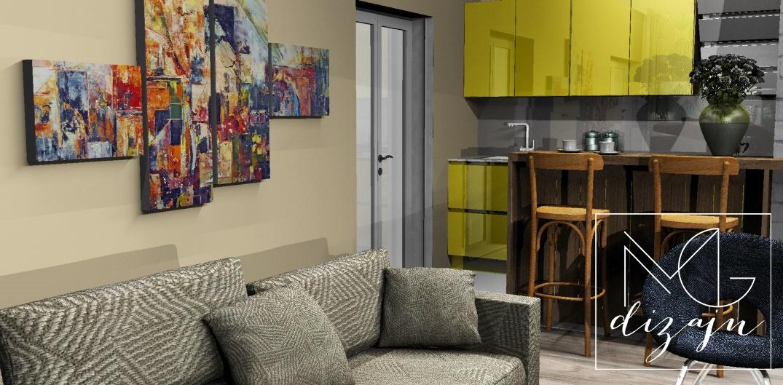 enterijer slika apstrakcija slike iz tri dela dnevna soba dizajn facebook instagram kuhinja visoki sjaj