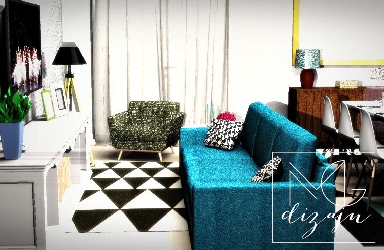 enterijer tirkizna sofa trpezarija pepito lampe tepih zavesa dizajn