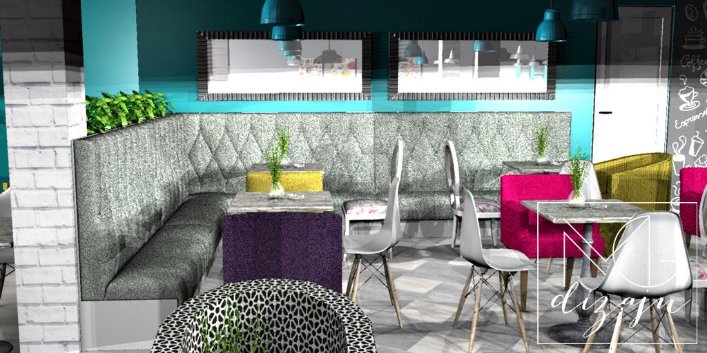 kafic 3d render separe ogledala stolice enterijer