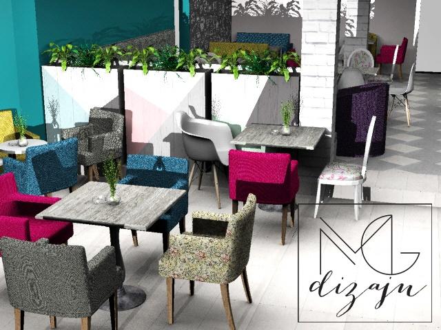 kafic levo od ulaza render 3d stolice dekoracija instagram story