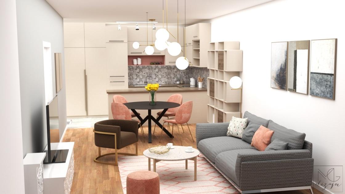 dnevna soba pogled na kuhinju siva roze