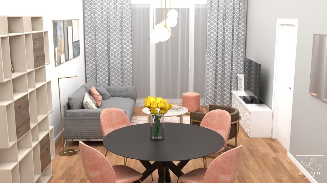 dnevna soba sivo roze